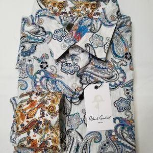 NWT Robert Graham Atlantic Long Sleeve Shirt White
